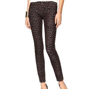 FREE PEOPLE animal print millennium skinny jeans
